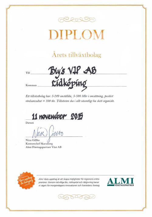 Diplom årets tillväxtbolag
